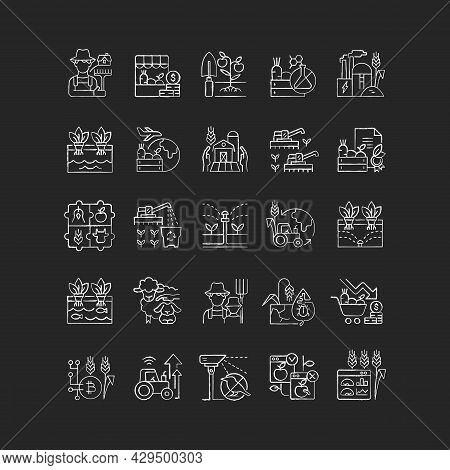 Agriculture Related Chalk White Icons Set On Dark Background. Growing Vegetables And Fruits. Agricul