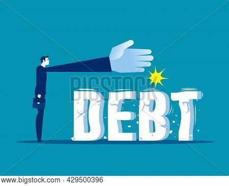Businessman Trying To Crush And Smash The Heavy Debt Burden. Breaking The Debt