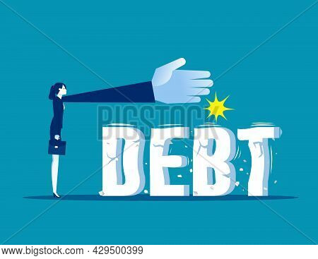 Businesswoman Trying To Crush And Smash The Heavy Debt Burden. Breaking The Debt