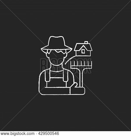 Rural Workers Chalk White Icon On Dark Background. Man Stands Near Barn. Labourer With Tool. Rural A