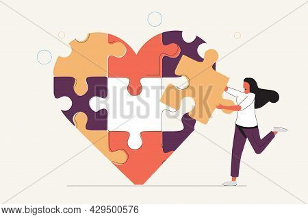 Mental Recovery After Relationship Breakup Loss Tiny Mini Person Concept. Heart Healing Therapy Or C
