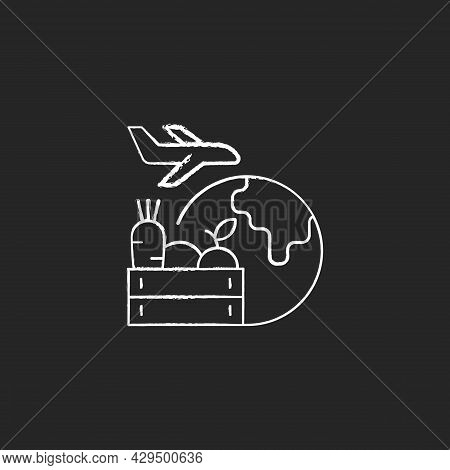 Agricultural Products Export Chalk White Icon On Dark Background. Agricultural Goods Delivering. Shi