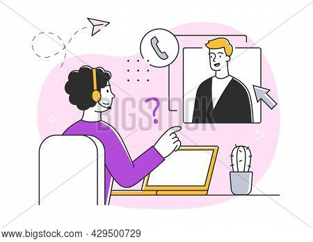 Young Male Character Working In Customer Support. Collection Of Scenes At Office. Workers Taking Par
