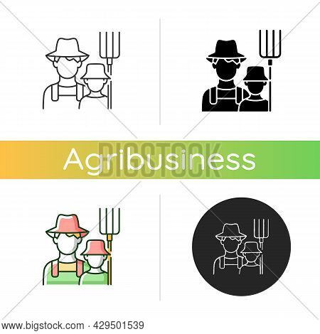 Subsistence Farming Icon. Produce Goods For Family. Domestic Food Production. Manual Labour. Avoid S