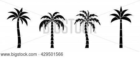 Palm Tree Icon. Set Of Coconut Tree Icons. Vector Illustration. Palm Vector Icons. Black Palm Icons