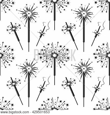 Sparkler Seamless Vector Background For Holiday Black And White