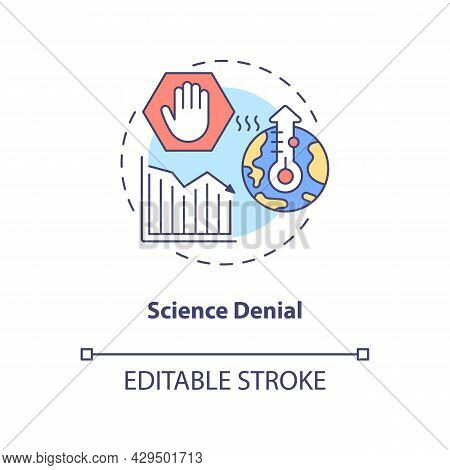 Science Denial Concept Icon. Global Warming Controversy. Arguments And Positions. Climate Change Ske