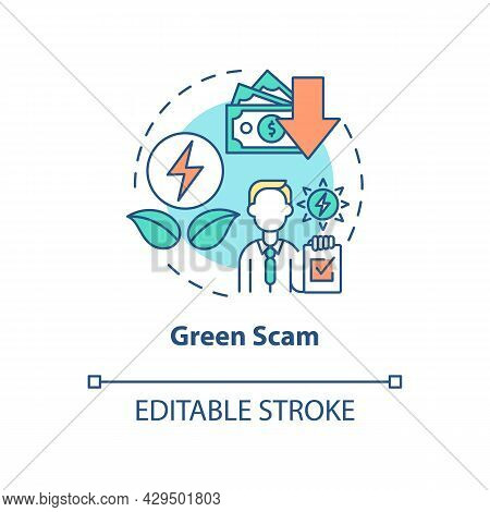 Green Scam Concept Icon. Renewable Energy. Money Losing Risks. Secure Financial Investment In Green