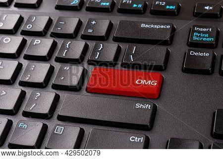 Omg Red Key On A Black Pc Keyboard. Desktop Keyboard With Omg Gamer Slang Button. Keypad Enter Butto