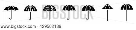 Umbrella Icons. Set Of Umbrella Icons. Vector Illustration. Black Icons Of Umbrella