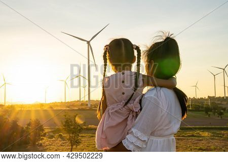 Wind Turbines Are Alternative Electricity Sources, The Concept Of Sustainable Resources, People In T