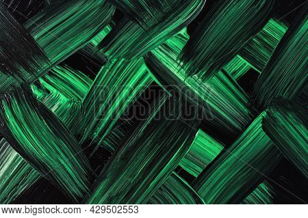 Abstract Art Background Dark Green And Black Colors. Watercolor Painting On Canvas With Emerald Stro