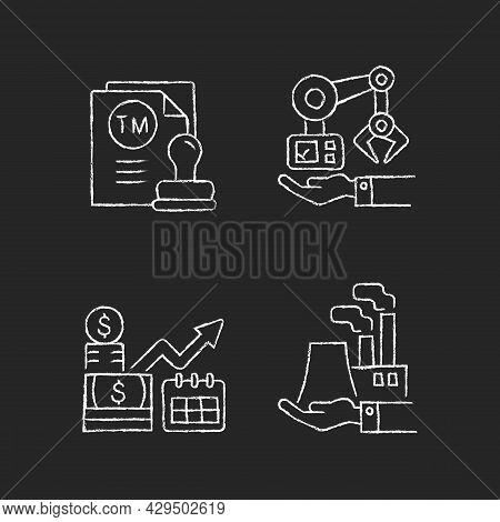 Long Term Business Investments Chalk White Icons Set On Dark Background. Machinery Owning And Plants
