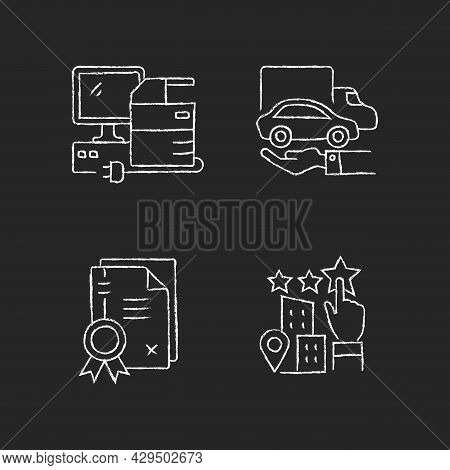 Company Image Chalk White Icons Set On Dark Background. Property Right Granting. Patents And Goodwil