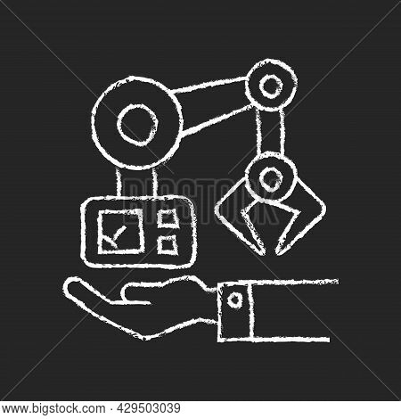 Machinery Owning Chalk White Icon On Dark Background. Manufacturing Robot. Hand Holds Mechanism. Ind