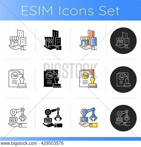 Building Ownership Icons Set. Trademark And Machinery Owning. Robotic Arm. Technical Equipment. Manu