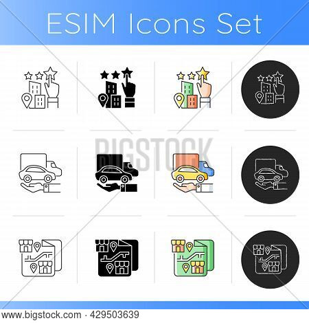 Corporate Owning Vehicle Icons Set. Company Goodwill And Promotion. Franchising And Distribution. En