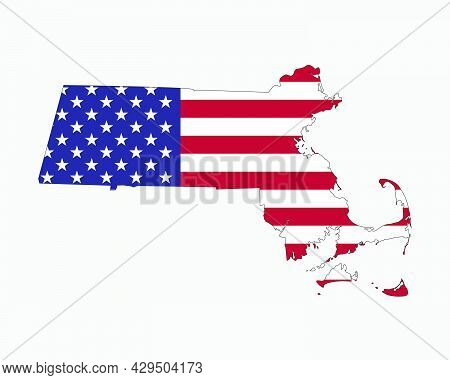 Massachusetts Map American Flag. Ma, Usa State Map On Us Flag. Eps Vector Graphic Clipart Icon