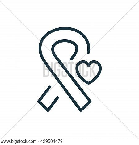 Cancer Ribbon With Heart Line Icon. Support And Solidarity For Hiv And Cancer Patient Linear Pictogr