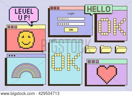 Cute Colorful Retro Vaporwave Desktop With Message Boxes And User Interface Elements. Concept Of Old