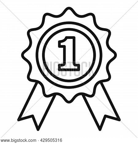 First Place Emblem Icon Outline Vector. Ribbon Medal. Winner Prize