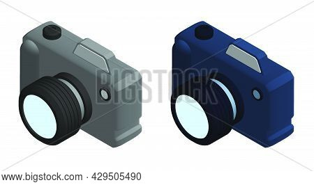 Isometric Photo Camera, Equipment For Photography. World Photography Day August 19th. Realistic 3d V