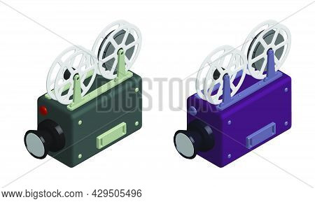 Isometric Old Camcorder. Filming Movie On Retro Instrument. Film Recording Of Movie. Realistic 3d Ve