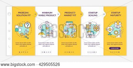 Startup Lifecycle Stages Onboarding Vector Template. Product, Market Fit. Responsive Mobile Website