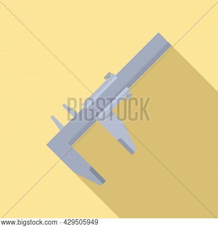 Engineering Caliper Icon Flat Vector. Calliper Vernier. Micrometer Tool
