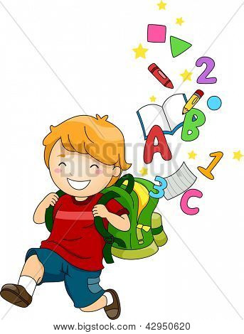 Illustration of a Happy School Boy with a Backpack full of ABC's and 123's
