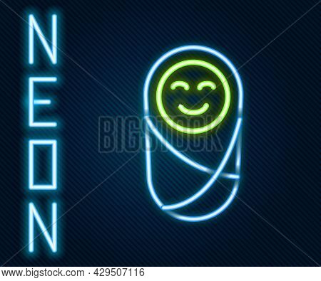 Glowing Neon Line Newborn Baby Infant Swaddled Or Swaddling Icon Isolated On Black Background. Baby