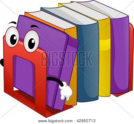 Illustration of Mascot Bookend with Books