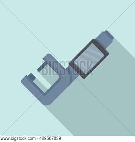 Digital Micrometer Icon Flat Vector. Vernier Caliper. Technical Gauge