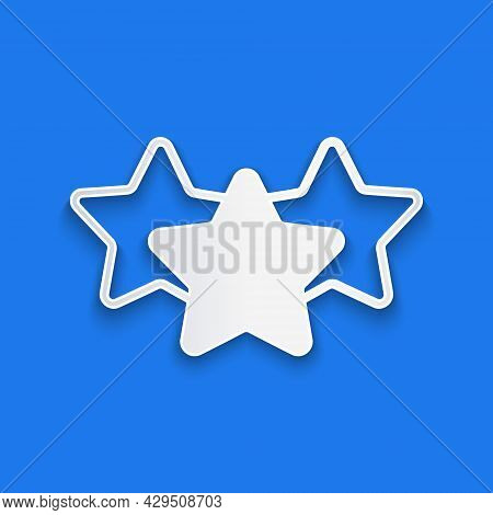 Paper Cut Five Stars Customer Product Rating Review Icon Isolated On Blue Background. Favorite, Best