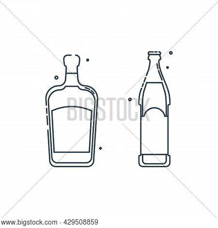 Bottle Liquor Beer Line Art In Flat Style. Restaurant Alcoholic Illustration For Celebration Design.