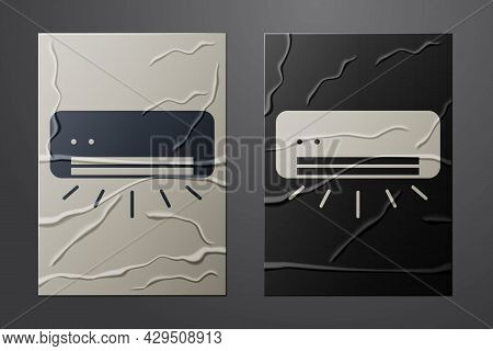 White Air Conditioner Icon Isolated On Crumpled Paper Background. Split System Air Conditioning. Coo