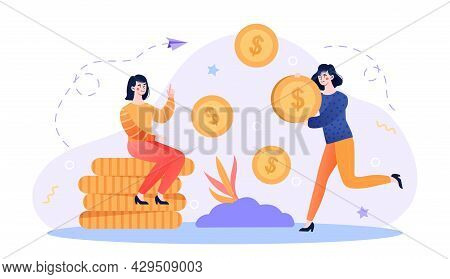 Successful Business Women Are Standing And Sitting Near Stack Of Money. Concept Of Rich And Successf