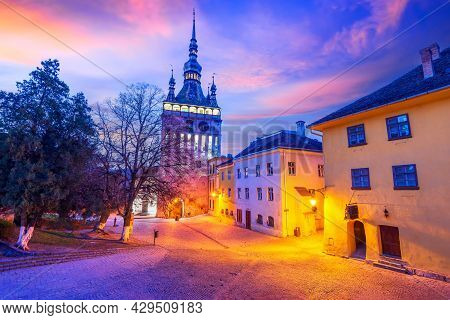 Sighisoara, Romania. Transylvania Scenic Travel Sight, Clock Tower In Medieval Fortified Saxon City.