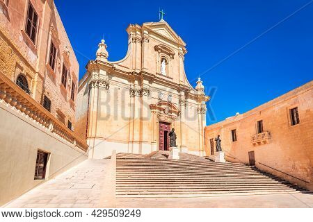 Gozo, Malta - Roman Catholic Cathedral Of The Assumption In The Cittadella Of Victoria. Popular Tour