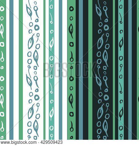 Vertical Stripes Seamless Pattern. Hand Drawn Doodle Ink Brush Stroke Artistic Elements, Cut Off. Gr