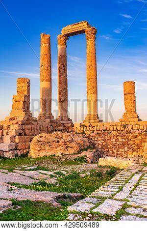 Amman, Jordan. Sunset Golden Light On Temple Of Hercules Of The Amman Citadel, Jabal Al-qal'a