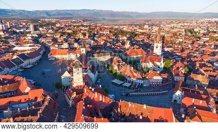 Sibiu, Romania. Aerial View Sunrsie With Saxon Oldtown Of Sibiu In Transylvania, Eastern Europe.