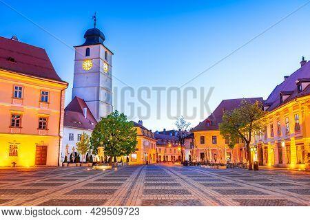 Sibiu, Romania. Picturesque Medieval Downtown, Scenic Travel Place In Transylvania.