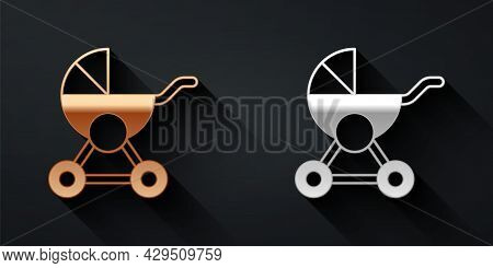 Gold And Silver Baby Stroller Icon Isolated On Black Background. Baby Carriage, Buggy, Pram, Strolle