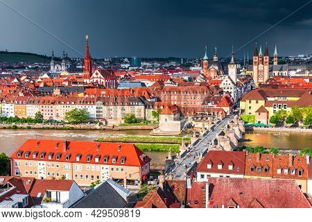 Wurzburg, Germany. Aerial Amazing Storm Light On Old Town, Part Of The Romantic Road, Franconia, Bav