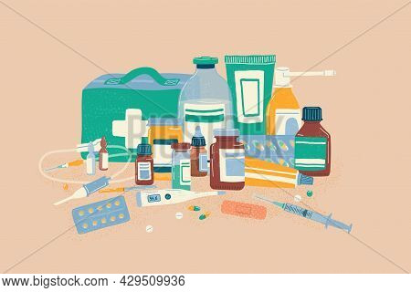 Medical Pills, Drugs And Bottles Hand Drawn Vector Illustration. Pharmacy Store Concept. Vitamins, A