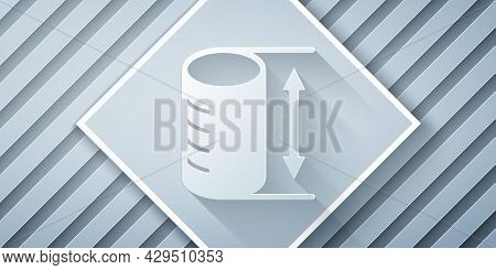 Paper Cut Height Geometrical Figure Icon Isolated On Grey Background. Abstract Shape. Geometric Orna