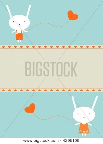 Two cute bunnies in love. Vector illustration poster