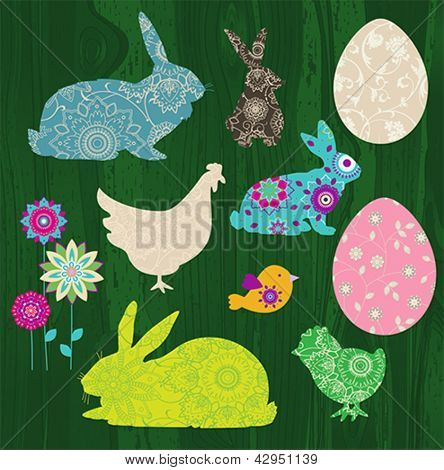Easter Set. All elements and textures are individual objects. Vector illustration scale to any size.