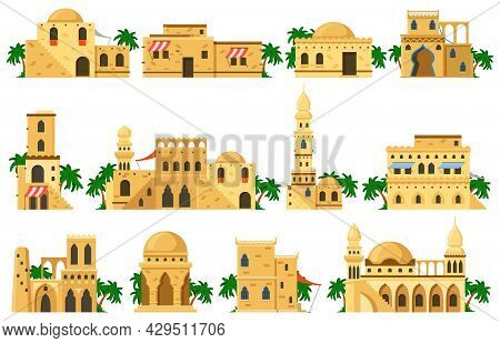 Arabic Oriental Traditional Mud Brick Architecture Buildings. Muslim Authentic Mud Houses, Mosque, R